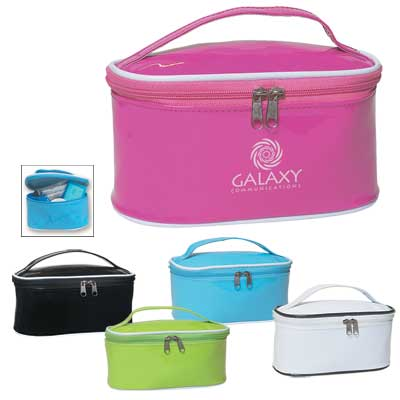 Bulk Personalized Cosmetic Bags, Pink, Light Blue, White, Black or Lime Green.