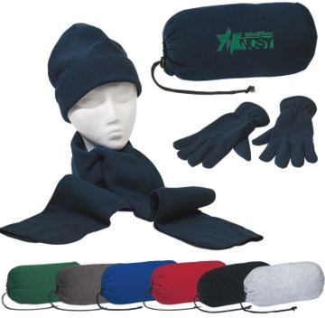 Keep Warm Set, Scarf, Beenie, Gloves Personalized, Black, Navy Blue, Red, Royal Blue, Forest Green, Charcoal Gray, Light Heather Gray