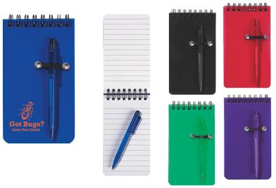 Wholesale Pocket Notepads Personalized in Bulk, Green, Red, Blue or Purple, Black.