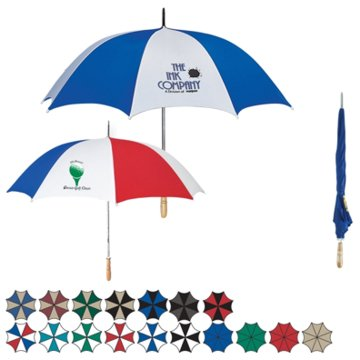 wholesale personalized golf umbrellas, Pewter/Black, Royal Blue/Black, White/Royal Blue, White/Teal, White/Red, White/Green, White/Black, Khaki/Navy, Khaki/Maroon, Khaki/Black, Khaki/Forest Green or Red/Black. Combo: Red/White/Royal Blue. Solid: Royal Blue, Khaki, Red or Green.