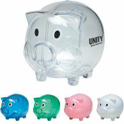 wholesale custom piggy banks, personalized, Blue, Green, Pink, Clear, White