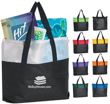 personalized zippered tote bags in bulk White, Red, Royal Blue, Lime Green, Black, Orange, Yellow, Purple or Forest Green,