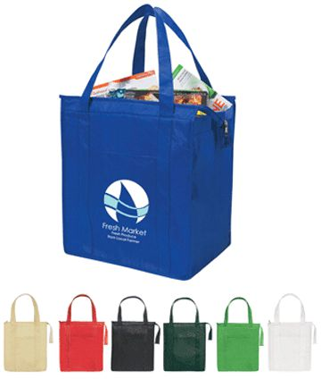 insulated grocery tote Black, White, Royal Blue, Kelly Green, Forest Green, Natural or Red.