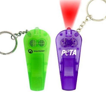 Customized Whistle Flashlight Keychains, Red, Green, Blue, Purple, Solid Black or White