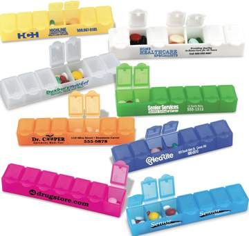 personalized weekly pill organizers, promotional pill planners, medium size
