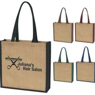 Wholesale personalized Jute Totes in Bulk Green, Burgundy, Blue, Brown or Black