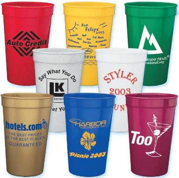 wholesale personalized stadium cups Red, Blue, Yellow, Orange, Pink, Green, White